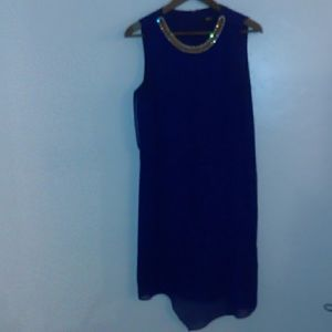 Blue Dress with jeweled collar